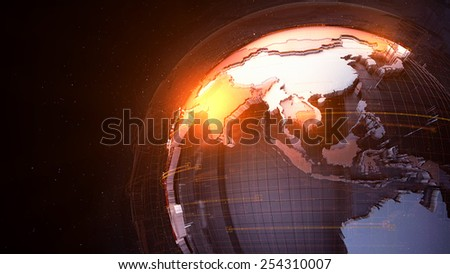 detail globe concept with dark background and fractured country surface - stock photo