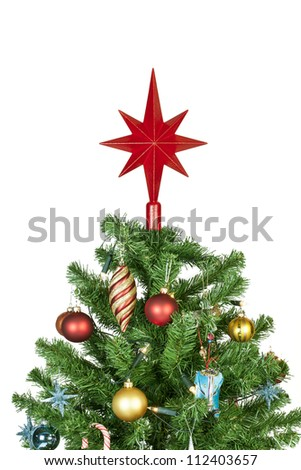 Detail of a beautiful christmas tree isolated on white background - studio shot - stock photo