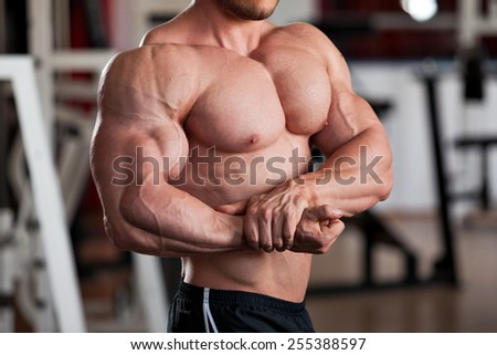 detail of a bodybuilder posing in the gym: side chest - stock photo