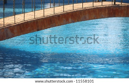 Detail of a bridge on a swimming pool - stock photo