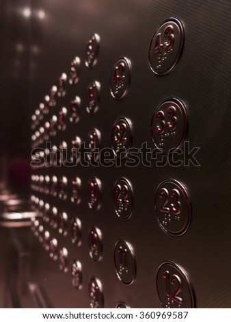 Detail of a control panel of an elevator. - stock photo