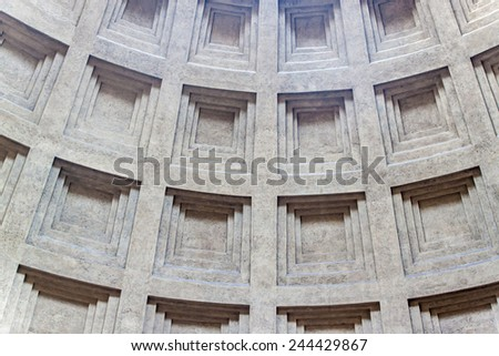 Detail of a cupola of Pantheon in Rome, Italy. Pantheon is a famous monument of ancient Roman culture, the temple of all the gods, built in the 2nd century. - stock photo