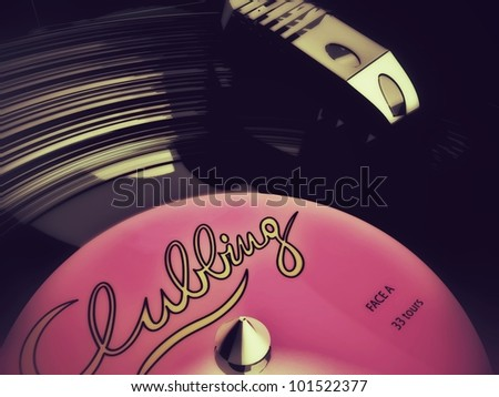 detail of a 3D-modeled vinyl laying on a record player, referring to concepts such as entertainment, nightclubbing, music, as well as mixing by a DJ - stock photo
