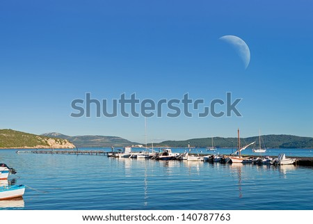 detail of a dock under a huge moon - stock photo
