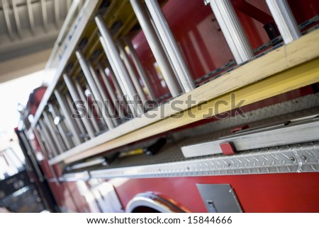 Detail of a fire engine - stock photo