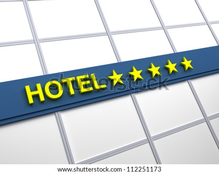 Detail of a five stars hotel with reflecting sky and palm trees - stock photo