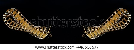 Detail of a gold bracelet on black background - stock photo