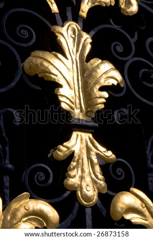 Detail of a gold leaf pattern in a gate of All Souls College, Oxford - stock photo