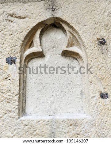 detail of a Gothic window boarded mini cathedral in Lyon - stock photo