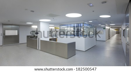 Detail of a hall inside a hospital emergency room. - stock photo