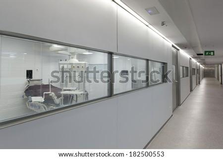 Detail of a hall inside a hospital emergency room. - stock photo