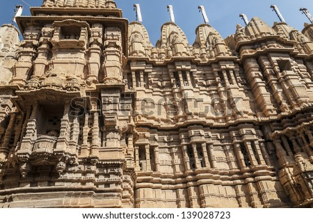 Detail of a historic building in Jaisalmar, India - stock photo