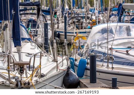 Detail of a Luxury Sailing Boat in a Marina in the Netherlands - stock photo