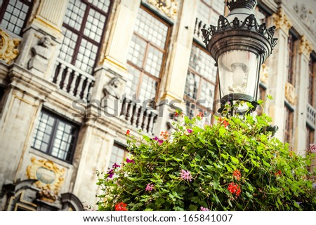 Detail of a main square in Brussels. - stock photo