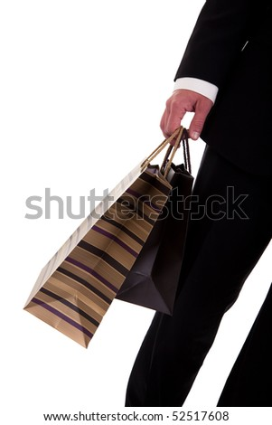 detail of a  man doing shopping,with bags - stock photo