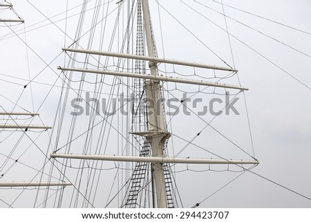 Detail of a mast of a ship - stock photo
