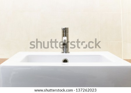Detail of a modern ceramic hand wash - stock photo