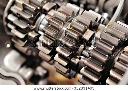 Detail of a motorcycle gearbox. - stock photo