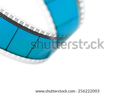 Detail of a movie film isolated on white - stock photo