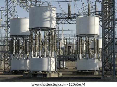 Detail of a portion of a high-voltage electrical power distribution substation in the San Joaquin Sacramento River Delta - stock photo