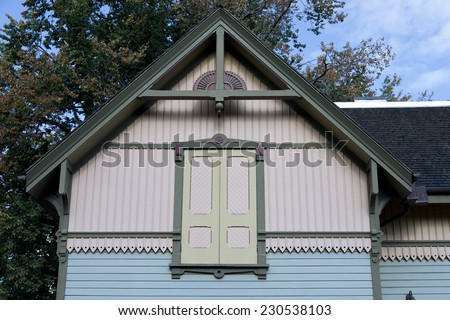 Detail of a Queen Anne home built around 1880 - stock photo