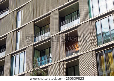 Detail of a residential building seen in the Hafencity in Hamburg - stock photo