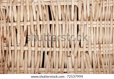 Detail of a roughly woven basket made from willow twigs. - stock photo