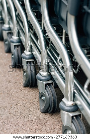 Detail of a shopping cart - stock photo