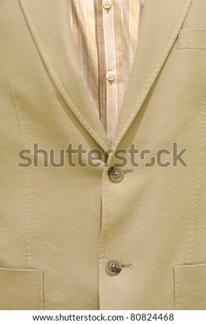 Detail of a suit without tie and a shirt, isolated - stock photo