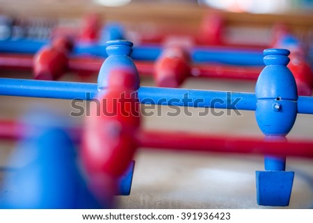 Detail of a table soccer game, Blur Background - stock photo