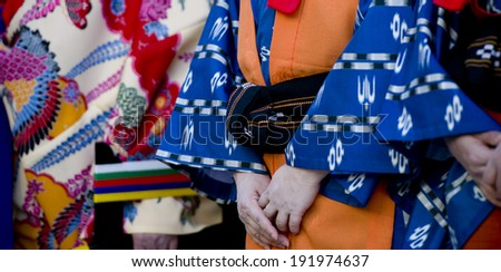 Detail of a the back of a Geisha girl - stock photo