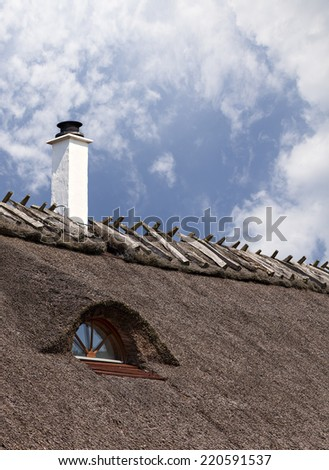 Detail of a traditional thatched roof cottage. - stock photo