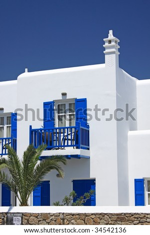 Detail of a typical white Greek island house (Mykonos) - stock photo
