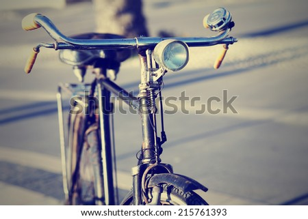 Detail of a Vintage Bike Front-light - stock photo
