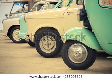 Detail of a vintage car, Classic car, Retro car, Old car - stock photo