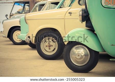 Detail of a vintage car, Classic car, Retro car, Old car - stock photo