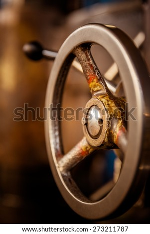 Detail Of A Vintage Industrial Metal Working Lathe. - stock photo