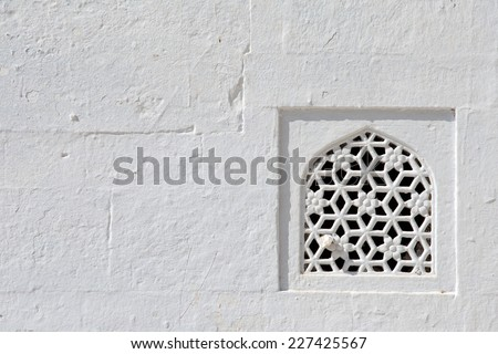 Detail of a wall of a temple in Pushkar, Rajasthan, India - stock photo