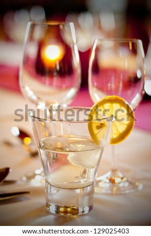 Detail of a wedding dinner setting - stock photo