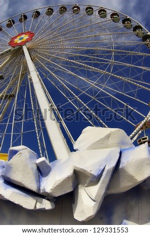 Detail of a wheel in the Prater amusement park in Vienna, Austria - stock photo