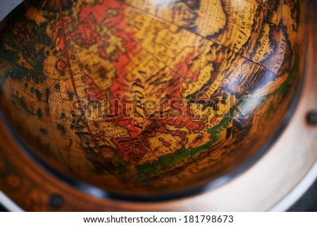 Detail of a wood globe - stock photo