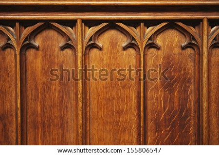 Detail of a wooden panel, Oxford University, Oxford, Oxfordshire, England - stock photo