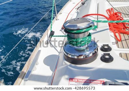 "Detail of a yacht deck. Tivat, Montenegro - 26 April, 2016. Regatta ""Russian stream"" in God-Katorskaya bay of the Adriatic Sea off the coast of Montenegro. - stock photo"