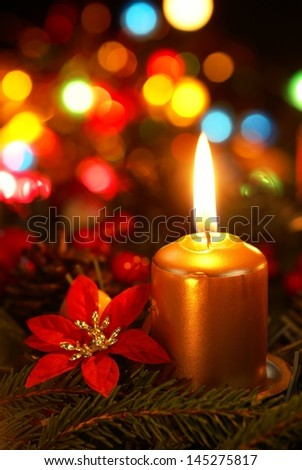 Detail of advent wreath on dark background. - stock photo