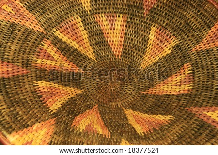 detail of an African basket showing the pattern - stock photo