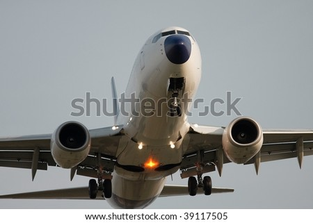 Detail of an airplane during takeoff - stock photo