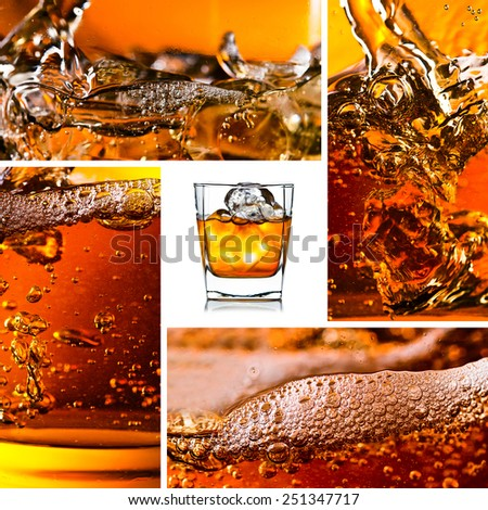 detail of an alcoholic beverage with natural ice,saved clipping path - stock photo