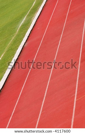 Detail of an athletic track - stock photo