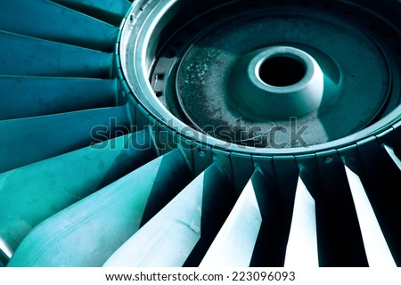 Detail of an old airplane jet engine - stock photo