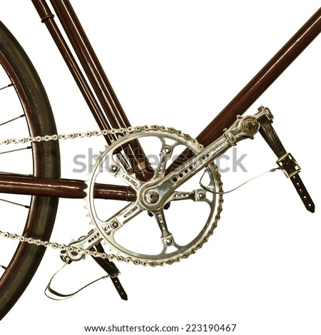 Detail of an old bicycle isolated on a white background - stock photo